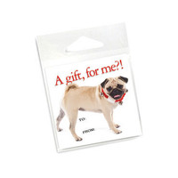 A Gift, For Me?! Pug Holiday Gift Tags