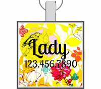 Yellow Bird Silver Pet ID Tags