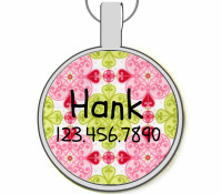 Pink Moroccan Silver Pet ID Tags