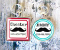 Mustache Silver Pet ID Tags