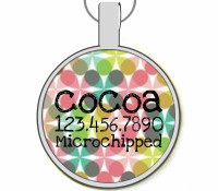 Modern Abstract Floral Silver Pet ID Tags