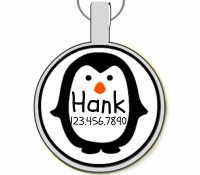 Mr. Penguin Silver Pet ID Tag
