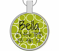 Modern Green Circles Silver Pet ID Tags