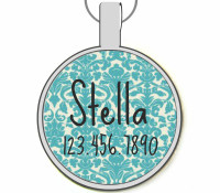Turquoise Blue Damask Silver Pet ID Tags