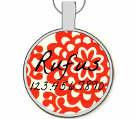 Red Peony Silver Pet ID Tags