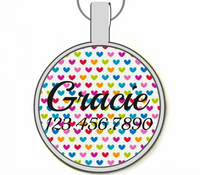 Rainbow Hearts Silver Pet ID Tags