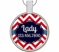 Chevron Stripes Silver Pet ID Tags