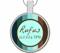 Blue and Brown Stripes Silver Pet ID Tags