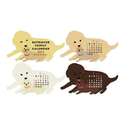 Retriever Family Die-Cut Desk Calendar 2012