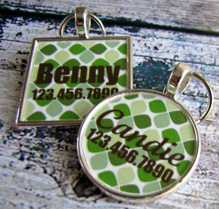 Green Moroccan Silver Pet ID Tags
