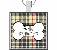 Preppy Plaid Bone Silver Pet ID Tags