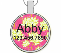 Bright Floral Silver Pet ID Tags