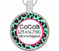 Leopard Print Silver Pet ID Tags