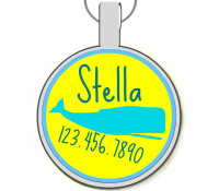 Yellow Whale Silver Pet ID Tags