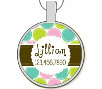 Floral Dots Silver Pet ID Tags