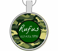 Camo Silver Pet ID Tags