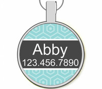 Teal Modern Geometric Silver Pet ID Tags