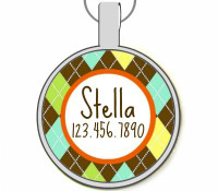Preppy Argyle Silver Pet ID Tags