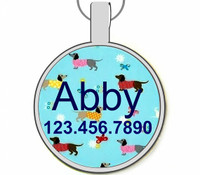 Retro Dachshund Silver Pet ID Tags