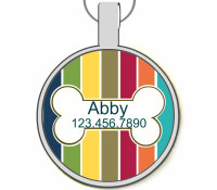 Nautical Bone & Stripes Silver Pet ID Tags