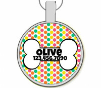 Retro Dots with Dog Bone Silver Pet ID Tags