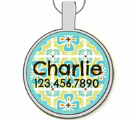 Tropical Floral Silver Pet ID Tags