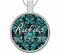 Blue and Black Damask Silver Pet ID Tags