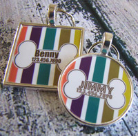 Autumn Stripes with Bone Silver Pet ID Tags