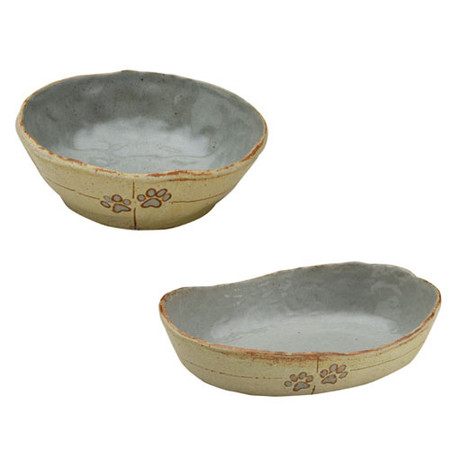 Urth Pearl Blue Stoneware Pet Bowls