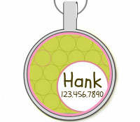 Retro Green Circles Silver Pet ID Tags