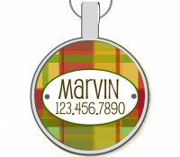 Red & Green Plaid Silver Pet ID Tags