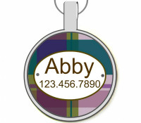 Purple Plaid Silver Pet ID Tags