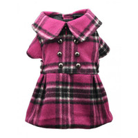 Pink Plaid Dress Coat