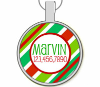 Holiday Stripes Silver Pet ID Tag