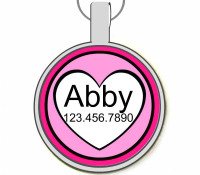 Pink Hearts Silver Pet ID Tags
