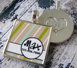 Beige Stripes Silver Pet ID Tags