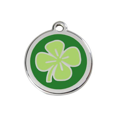 Four Leaf Clover Stainless Steel Enamel Pet ID Tag