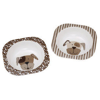 Comic Puppy Black & Grey Dog Bowl Set