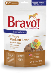 Bravo Bonus Bites Freeze Dried Venison Liver Treats