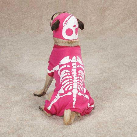 Glow Bones Hot Pink Dog Costume