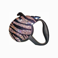 Zebra Swarovski Crystal Retractable Dog Lead