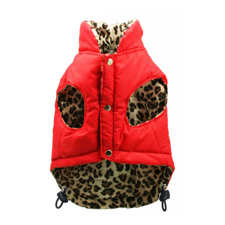 Red Leopard Reversible Puffer Vest