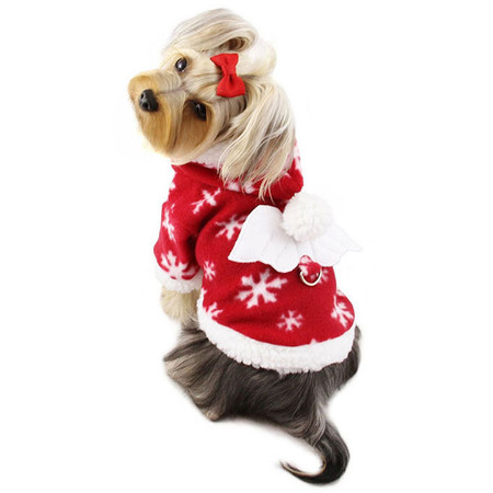 Snowflake Angel Fleece Dog Hoodie