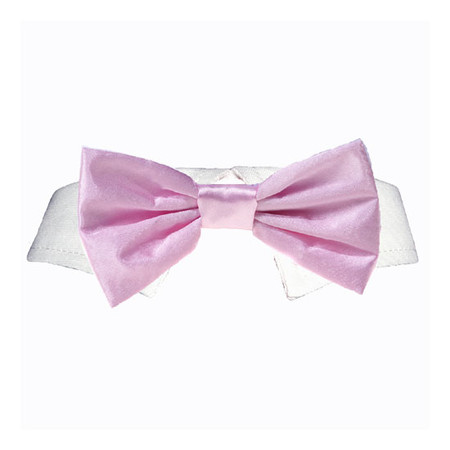 Pink Satin Bow Tie Collar