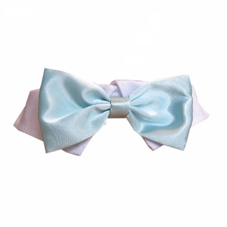 Aqua Satin Bow Tie Collar