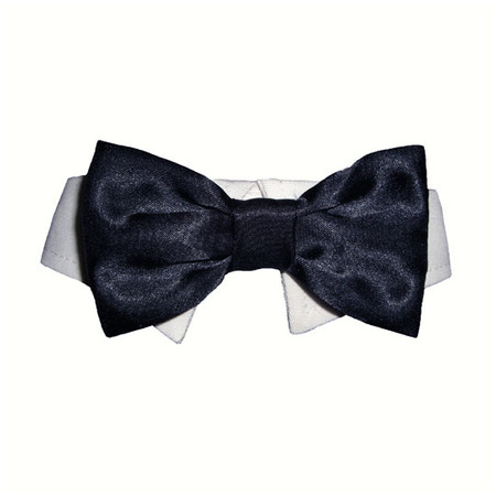 Black Satin Bow Tie Collar