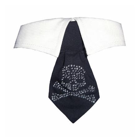 Rhinestone Skull Shirt Tie Collar