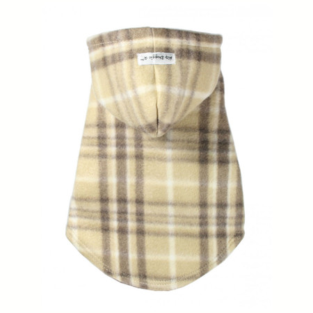 Tan Plaid Polar Fleece Hoodie