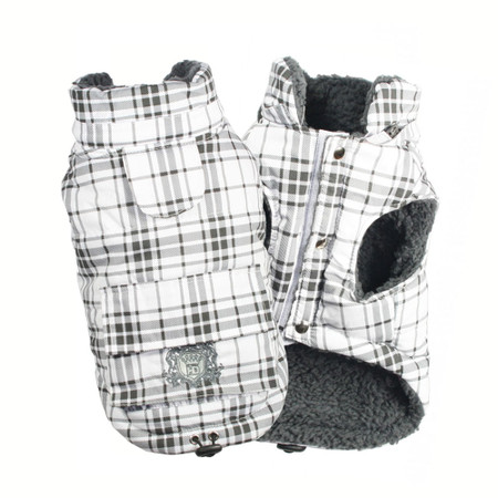 White Plaid Shearling Puffer Vest
