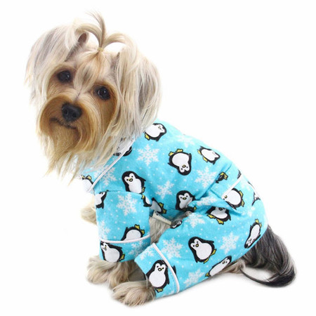 Turquoise Penguin Flannel Dog Pajamas